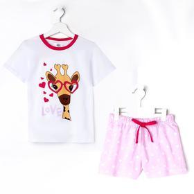 Пижама для девочки, цвет белый, рост 98-104 см