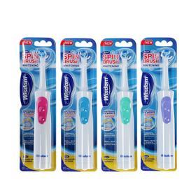 Электрическая зубная щётка Wisdom Spinbrush Whitening, возвр.-вращ. насадка, МИКС, от 2хААА