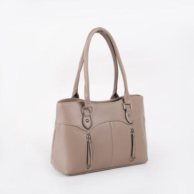 Women's bag, zippered compartment, 3 outer pockets, beige color