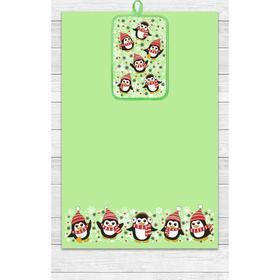 Кухонный набор Пингвины (полотенце 39х60, прихватка 14,5х22) зеленый, хлопок 100%, 200г/м2