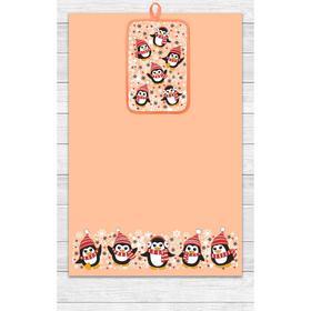 Кухонный набор Пингвины (полотенце 39х60, прихватка 14,5х22) персик, хлопок 100%, 200г/м2