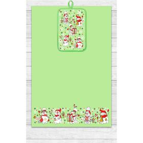 Кухонный набор Снеговики (полотенце 39х60, прихватка 14,5х22) зеленый, хлопок 100%, 200г/м2