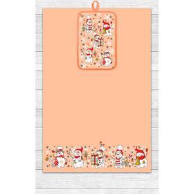 Кухонный набор Снеговики (полотенце 39х60, прихватка 14,5х22) персик, хлопок 100%, 200г/м2