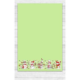 Полотенце «Снеговики» 39х60 см, цвет зелёный