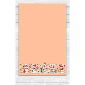 Полотенце «Снеговики» 39х60 см, цвет персик