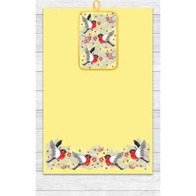 Кухонный набор Снегири (полотенце 39х60, прихватка 14,5х22) желтый, хлопок 100%, 200г/м2