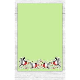 Полотенце «Снегири» 39х60 см, цвет зелёный