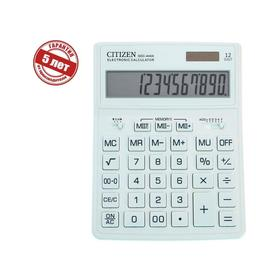 Калькулятор настольный Citizen 12-разр, 155*204*33мм, 2-е питание, белый SDC-444XRWHE