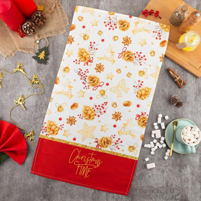 """Полотенце """"Этель"""" Golden Christmas 40х73 см, 100% хл, саржа 190 гр/м2"""