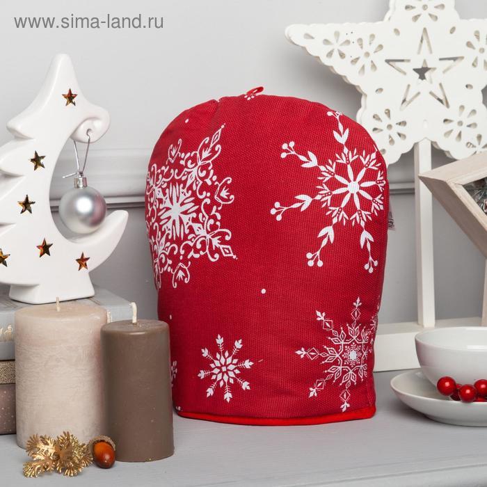 "Heating pad for teapot ""White snowflakes"" 28x28cm, 100% cotton, 164g/m2"