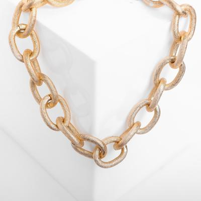 """Necklace """"Chain"""" large links with a pattern, color gold"""