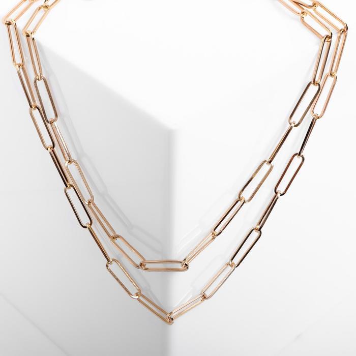 """Колье """"Цепь"""" вытянутые звенья, цвет розовое золото , длина 46см"""