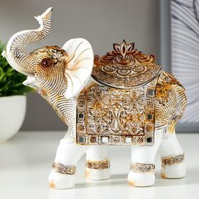 """Сувенир полистоун шкатулка """"Белый слон с попоной из арабского ковра"""" 17,5х17,5х6,3 см"""