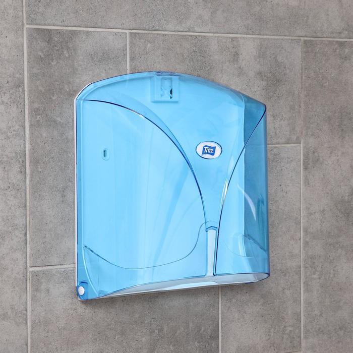 Диспенсер бумажных полотенец в листах, цвет голубой - фото 798704831