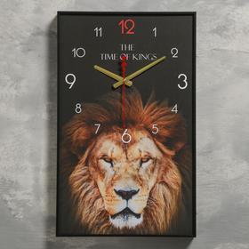 """Часы настенные, серия: Животные, """"Лев"""", 1 АА, плавный ход, 57х35х4 см"""