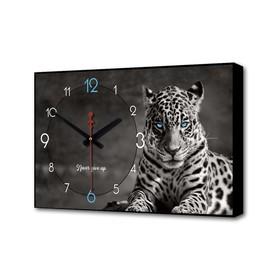 "Часы настенные, серия: Природа, ""Леопард"", 1 АА, плавный ход, 57х35х4 см"