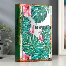 """Шкатулка-книга дерево кожзам """"Фламинго в тропиках"""" зеркало 26х17,5х5 см"""