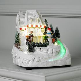 "Фигура световая ""Снеговик и дети"" 16х18 см, 8 LED, USB, музыка, динамика, АА*3, Т/БЕЛЫЙ"