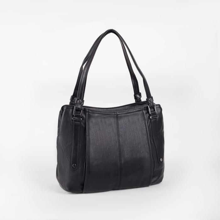 Сумка женская, отдел на молнии, наружный карман, цвет чёрный - фото 51137