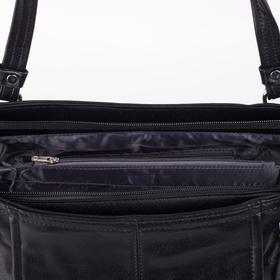 Сумка женская, отдел на молнии, наружный карман, цвет чёрный - фото 51139