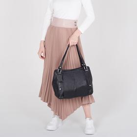 Сумка женская, отдел на молнии, наружный карман, цвет чёрный - фото 51140