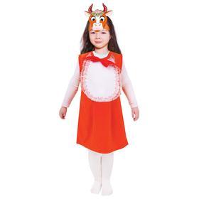 Карнавальный костюм от 1,5-3-х лет «Рыжая коровка», велюр, сарафан, маска-ободок
