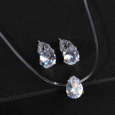 """Set of 2 items: earrings, pendant"""" on the line """" drop, color white in silver"""