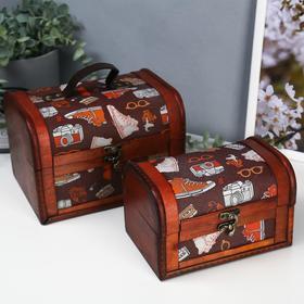 "Box wood chest ""Fashion accessories"" set of 2 pieces 12x11, 5x17, 5; 14, 5x15, 5x21, 5 cm"