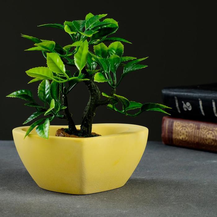 Кашпо Сердечко желтое, 11 х 12,5 х 5 см