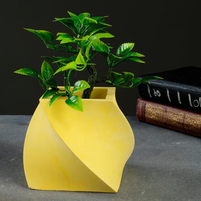 Кашпо Башня желтое, 12 х 12 х 10 см