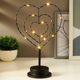 """Ночник """"Сердце"""" LED от батареек 3хАА черный 10х18,5х29,8 см"""