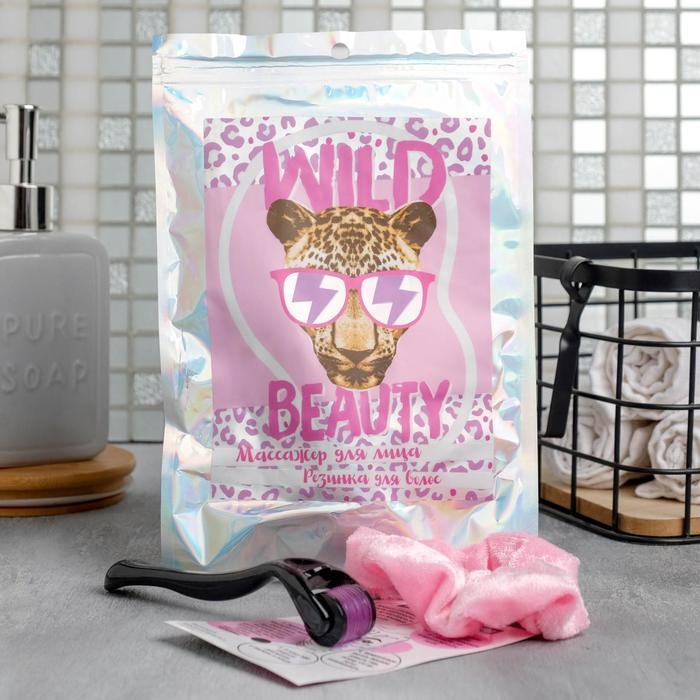 Набор: резинка и мезороллер Wild beauty, 14 х 4 см, 540 игл