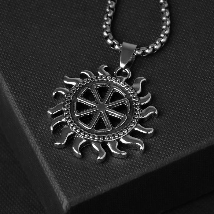 "Кулон унисекс ""Свитовит"", цвет чернёное серебро, 60 см"