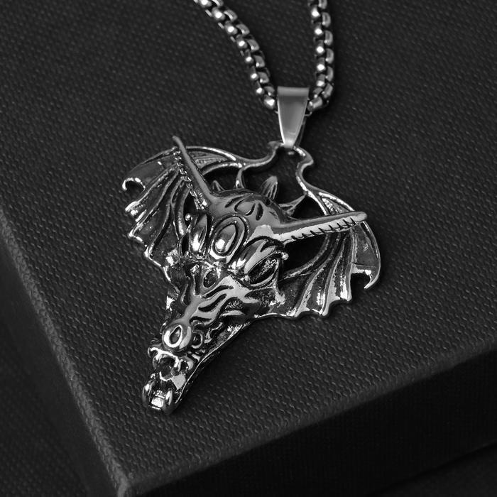 """Кулон унисекс """"Дракон"""" голова, цвет чернёное серебро, 60 см"""