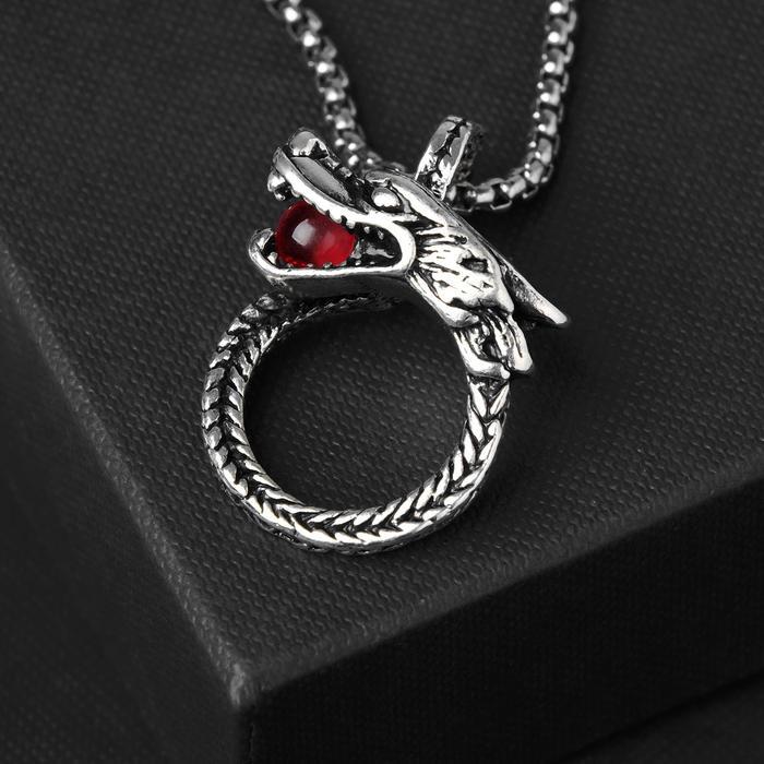 """Кулон унисекс """"Дракон"""" с бусиной, цвет красный в чернёном серебре, 60 см"""
