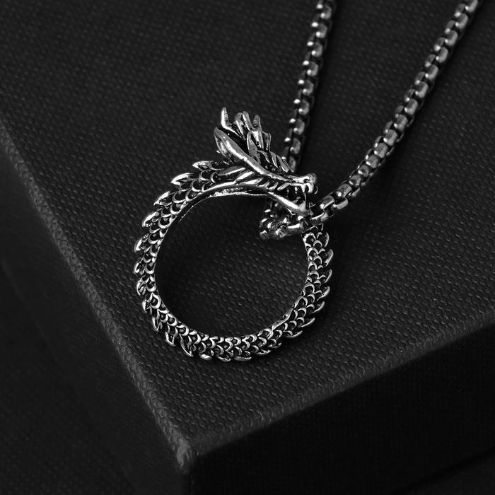 "Кулон унисекс ""Дракон"" в круге, цвет чернёное серебро, 60 см"