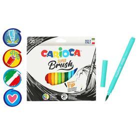 """Фломастеры-кисть 20 цветов, Carioca """"Super Brush"""", смываемые, картон, европодвес"""