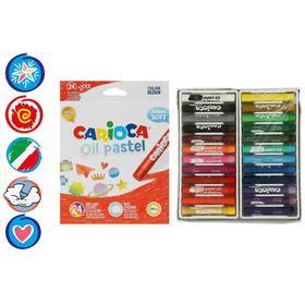 """Пастель масляная 24 цвета Carioca """"Oil Pastel"""", премиум, картон, европодвес"""