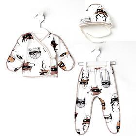 Комплект (чепчик, распашонка, ползунки) для новорожденных, цвет белый/бандиты, рост 56