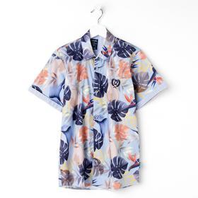 Рубашка для мальчика с коротким рукавом, цвет голубой, рост 146 (11 лет)