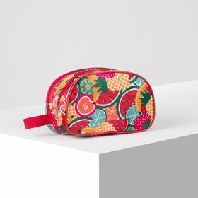 7519 / D Cosmetic bag 2-section, 24 * 10 * 16, 2 sections with zippers, red watermelons