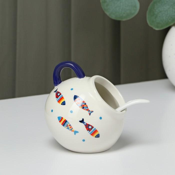 """Sugar bowl with a spoon """"Emelya"""" 200 ml 9x9 cm"""