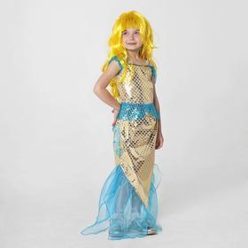 Карнавальный костюм «Золотая русалка», топ, юбка, парик, р. 28, рост 98-104 см