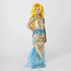 "Carnival costume ""Golden mermaid"" top, skirt, wig, R-R34, height 140"