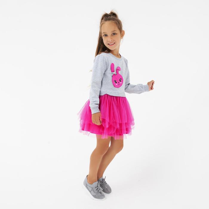 Платье для девочки, цвет серый меланж, рост 98 см - фото 76511274