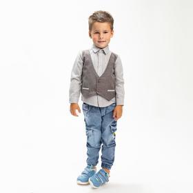 Рубашка для мальчика, цвет серый, рост 104 см