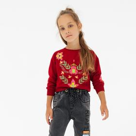 Свитшот для девочки, цвет бордовый, рост 104 см
