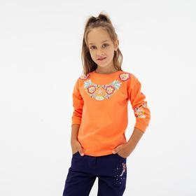Свитшот для девочки, цвет коралловый, рост 110 см