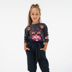 Свитшот для девочки, цвет тёмно-серый, рост 104 см