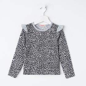 Лонгслив для девочки, цвет серый меланж, рост 104 см